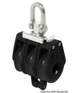 Réa triple avec ringot Control diamètre 40mm pour bouts 10mm noire