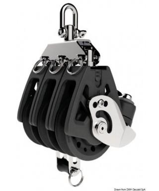 Réa triple avec ringot et coinceur Synchro 50mm pour bouts 6-10mm charge maxi 450Kg