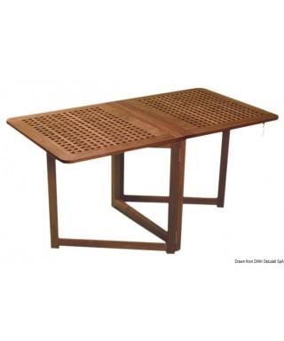 Table teck pliante 78x145x70 cm avec pieds à compas