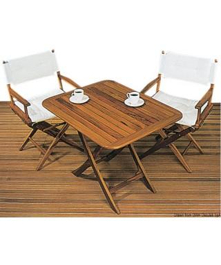 Table teck pliante 90x70 cm Réglable en hauteur
