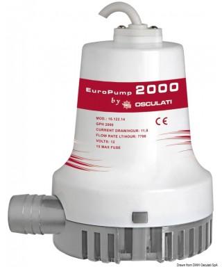 Pompe de cale immergée Europump II 2000 12V Débit 128 L/m