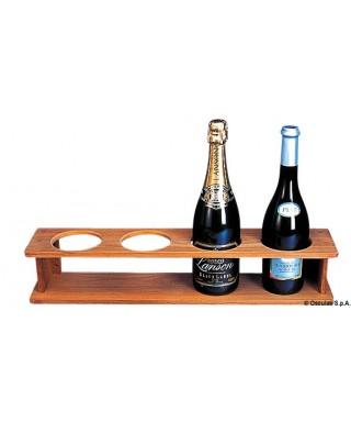 Support teck pour 4 bouteilles 560x115x105 mm