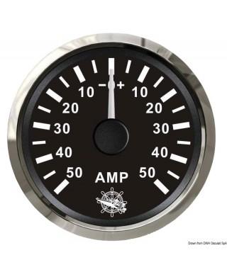 Ampèremètre avec shunt 50 A Cadran noir lunette polie 51mm
