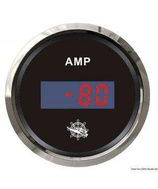Ampèremètre numérique Cadran noir lunette polie 51mm