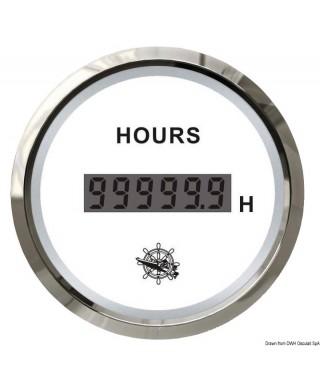 Compte-heures numérique Cadran blanc lunette polie 51mm