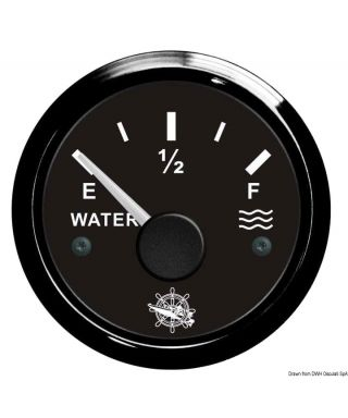 Jauge d'eau 240/33 Ohm Cadran noir lunette noire 51mm