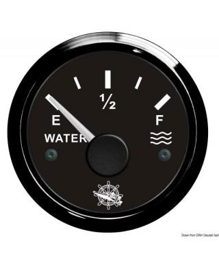 Jauge eau 10-180 Ohm Cadran noir lunette noire 51mm