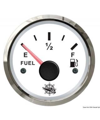 Jauge de carburant 10-180 Ohm Cadran blanc lunette polie 51mm