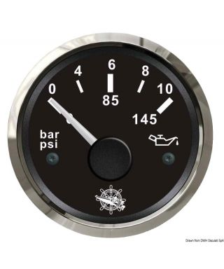 Indicateur pression de l'huile 0/10 bar Cadran noir lunette polie 51mm