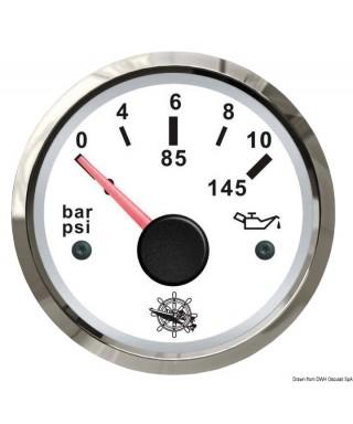 Indicateur pression de l'huile 0/10 bar Cadran blanc lunette polie 51mm