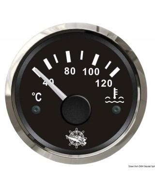 Jauge de température d'eau 40/120° Cadran noir lunette polie 51mm