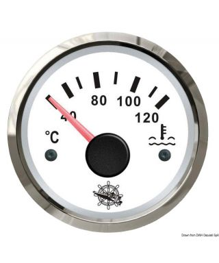 Jauge de température d'eau 40/120° Cadran blanc lunette polie 51mm