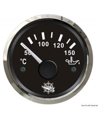 Jauge de température d'huile 50/150° Cadran noir lunette polie 51mm