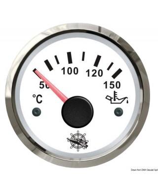 Jauge de température d'huile 50/150° Cadran blanc lunette polie 51mm