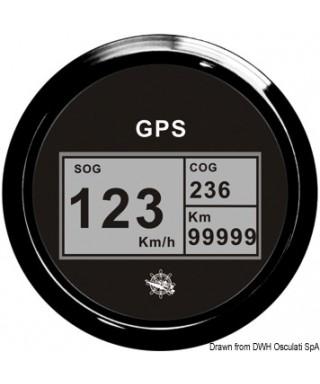 Indicateur vitesse compas totalisateur GPS Cadran noir lunette noire 85mm
