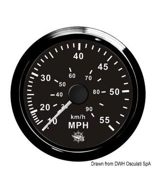 Indicateur de vitesse Pitot 0-35 MPH Cadran noir lunette noire 85mm