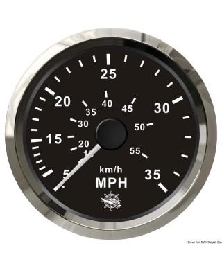 Indicateur de vitesse Pitot 0-35 MPH Cadran noir lunette polie 85mm