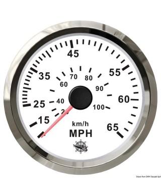Indicateur de vitesse Pitot 0-65 MPH Cadran blanc lunette polie 85mm