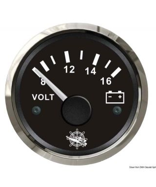 Voltmètre 8/16 V Cadran noir lunette polie 51mm
