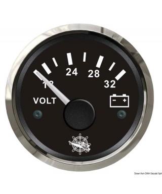Voltmètre 18/32 V Cadran noir lunette polie 51mm