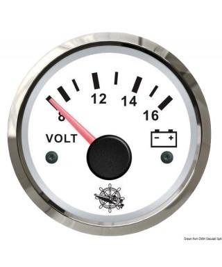 Voltmètre 8/16 V Cadran blanc lunette polie 51mm