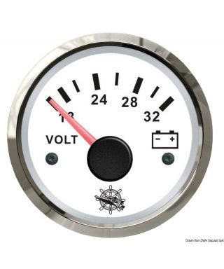 Voltmètre 18/32 V Cadran blanc lunette polie 51mm