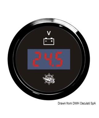 Voltmètre numérique 8/32 V Cadran noir lunette noire 51mm