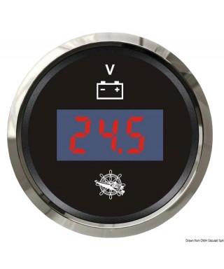 Voltmètre numérique 8/32 V Cadran noir lunette polie 51mm