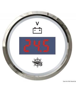 Voltmètre numérique 8/32 V Cadran blanc lunette polie 51mm