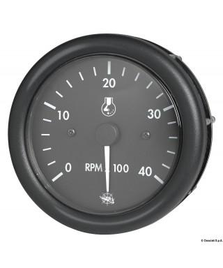 Compte-tours Guardian diesel 0-4000 RPM compteur 24V Cadran noir lunette noire