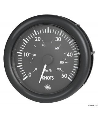 Speedomètre Guardian 0-50 nœuds 12V Cadran noir lunette noire