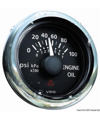 Indicateur pression huile noir 5 bar/80 psi 12/24V 52mm
