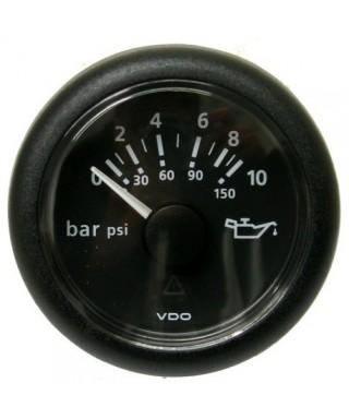 Indicateur pression huile noir 25 bar/350 psi 12/24V 52mm