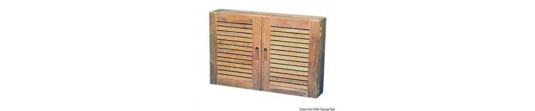 Armoires petites portes et poignées en teck